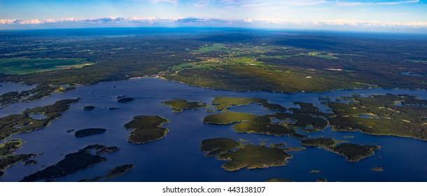 Aerial view of scandinavian landscape