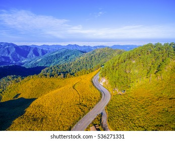 Aerial view Scenery of Doi Mae U-Kho, Mae Hong Son province, Thailand.