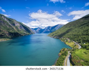 Aerial view of scenic fjord Sognefjorden in Norway