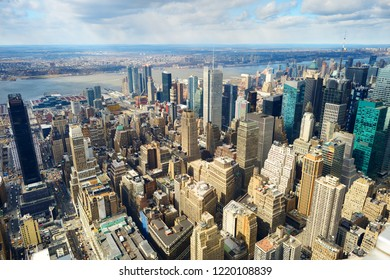 Aerial view of scenic Manhattan downtown skyline in early spring.