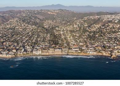 Aerial view of scenic pacific ocean waterfront in Laguna Beach, California.