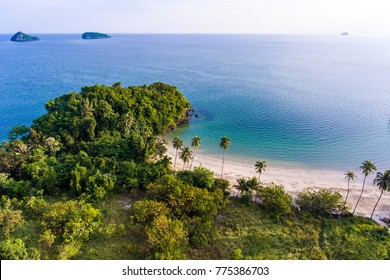 Aerial view of scenic tropical beach with beautiful sunlight