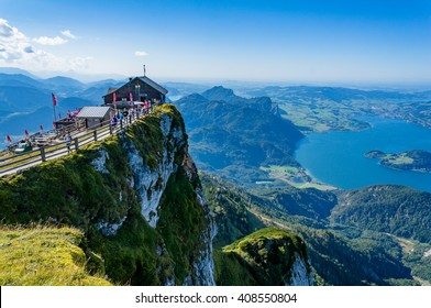 Aerial view from Schafberg peak to Mondsee, Austria