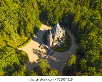 Aerial view of Schwarzenberg tomb from 18th century in Domanin. Tomb is famous tourist attraction near Trebon, South Bohemia. Historical landmark from above in Czech republic, European union.