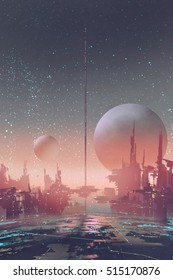 aerial view of sci-fi city with futuristic buildings on an alien planet,illustration painting