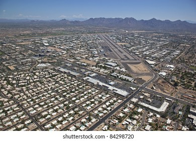 Aerial view of the Scottsdale Airpark, airport and runway