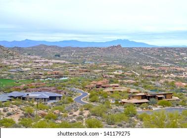 Aerial View of Scottsdale, Arizona from a Hiking Trail on Pinnacle Peak Mountain