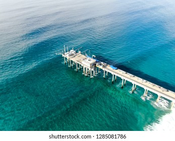 Aerial view of the scripps pier institute of oceanography, La Jolla, San Diego, California, USA. Research pier used to study ocean conditions and marine biology.