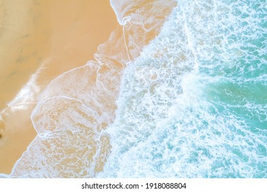 Aerial view sea beach turquoise seas water azure beach nature summer vacation background