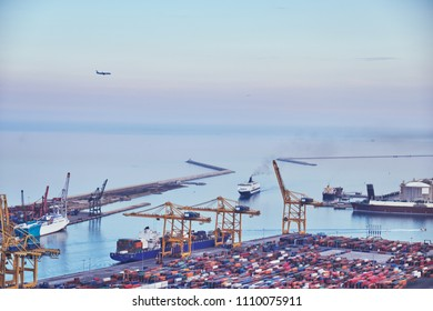 Aerial view of the sea cargo port  from the Montjuic hill, Barcelona, Catalonia, Spain.