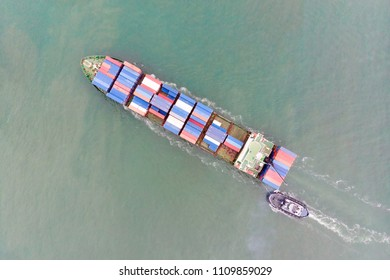 Aerial view of sea freight, Cargo ship, Cargo container in factory harbor at industrial estate Thailand, cargo to Port of Singaporer / Shipping - cargo to harbor