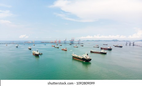 Aerial view of sea freight, Crude oil tanker lpg ngv at industrial estate Thailand / Group Oil tanker ship to Port of Singapore - import export around in the world