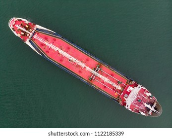 Aerial view of sea freight, Pink Crude oil tanker, LPG, CNG at industrial estate Thailand / Crude Oil tanker to Port of Singapore - import export around in the world
