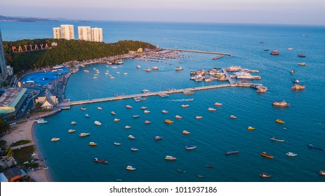 Aerial view of  SEA  in Pattaya , Thailand .