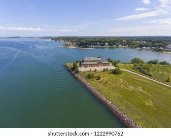 Aerial view of Sea shore in Boston Harbor in Weymouth, Massachusetts, USA.