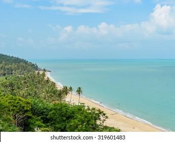 Aerial view of seascape beach in Nakhon Si Thammarat, Thailand