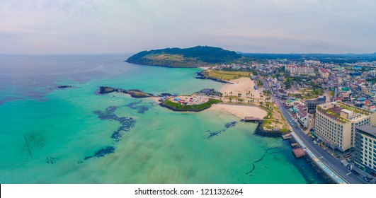 Aerial view of seascape of Jeju island, South Korea. Aerial view of beautiful Hamdeok beach in Jeju island.