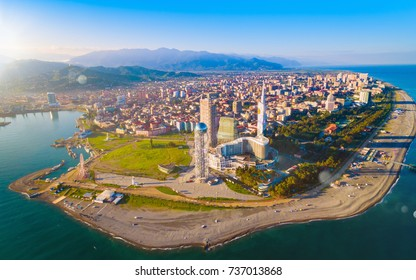 Aerial view of seaside resort city Batumi - capital of Adjara, Georgia