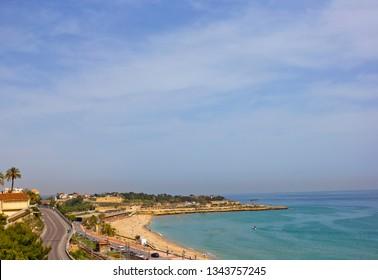 Aerial view of seaside in Tarragona, Spain