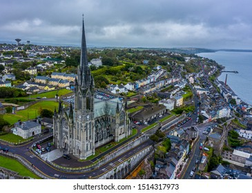 Aerial view of the seaside town of Cobh in Cork, Ireland. The Cathedral Church of St Colman, usually known as Cobh Cathedral, is a Roman Catholic cathedral in Cobh, Ireland.