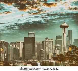 Aerial view of Seattle skyline, Washington - USA.