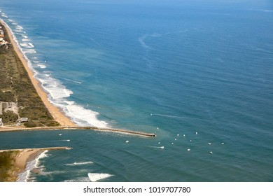 Aerial view of the Sebastian Inlet, Florida and the breakwater.