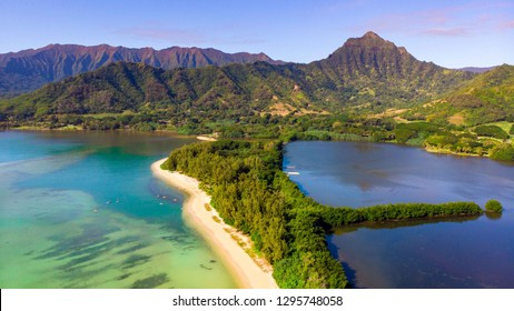 An aerial view of Secet Island and Moli'i Pond at Kualoa Regional Park on Oahu, Hawaii.
