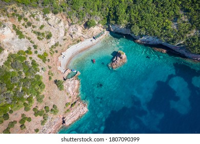 Aerial view of Secret Beach in Drobnici, Montenegro.