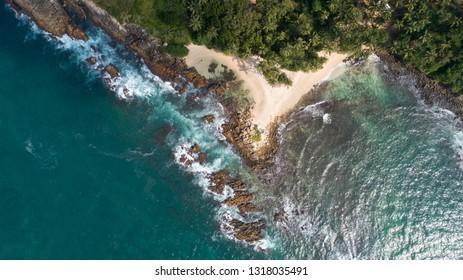 Aerial view of secret beach in mirissa Sri lanka