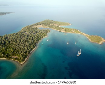 Aerial view of Sedir Island, Cleopatra Island Gokova Bay Turkey