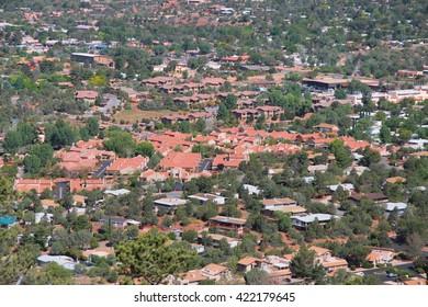 Aerial view of Sedona in Arizona