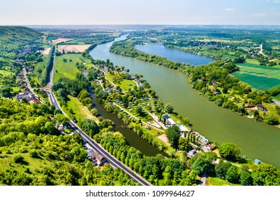 Aerial view of the Seine River at Chateau Gaillard in Normandy, France