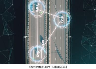 Aerial View Self Driving Autopilot Autonomous Cars