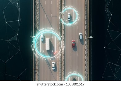 Aerial view of self driving autopilot cars driving on a highway with technology tracking them, showing speed and who is controlling the car. Visual effects clip shot.