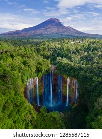 Aerial view of Semeru mountain with Tumpak Sewu waterfall located in Lumajang, Indonesia