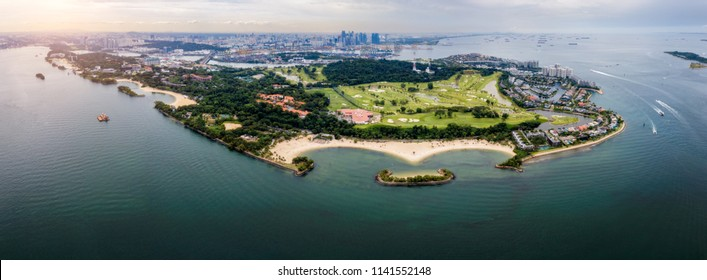 Aerial view of Sentosa island in Sentosa, Singapore. Sentosa is a popular island resort in Singapore city.