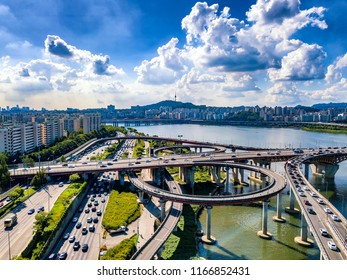 Aerial view of seoul city and han river in south korea