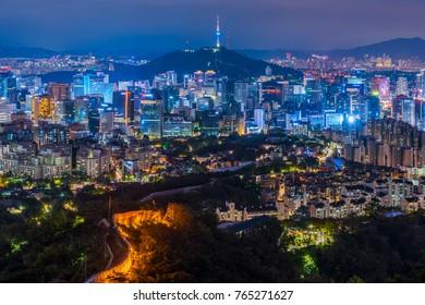 Aerial view of Seoul City Skyline at Night,South Korea.