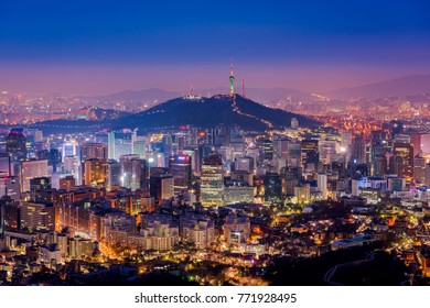 Aerial view of Seoul City Skyline at Night,South Korea.