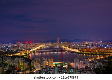 Aerial view of Seoul with Lotte Tower and Hangang River, South Korea.