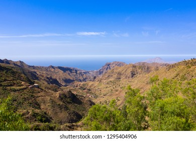 Aerial view of Serra Malagueta natural parc in Santiago island in Cape Verde - Cabo Verde