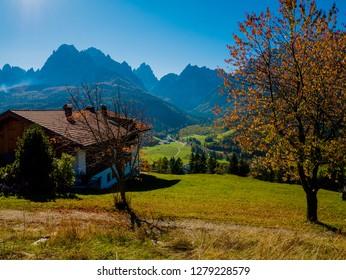 Aerial view of Sesto (Sexten) Dolomites mountains South Tyrol