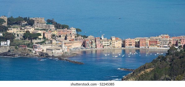 aerial view of Sestri Levante with its characteristic peninsula.
