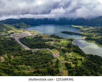 Aerial view of Sete Cidades village and Lagoa Azul and Verde on Sao Miguel in the Azores.