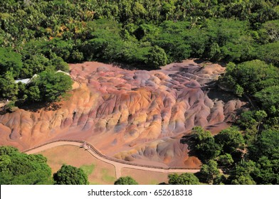 Aerial view of Seven colored earth curiosity natural reserve Mauritius earth dunes