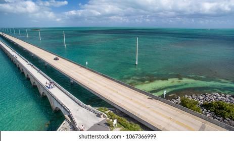 Aerial view of Seven Miles Bridge along Overseas Highway, Florida.
