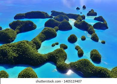 Aerial View of Seventy Islands (Palau, Micronesia)