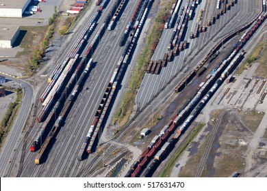 Aerial view of several train and cargo wagons at a Montreal intermodal shipping facility, Canada.