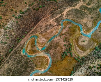 Aerial View of Sevier river in Utah, USA