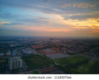 Aerial view of Shah Alam, Malaysia downtown at sunrise.